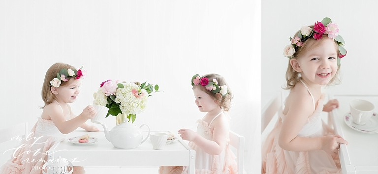 Girls having a tea party at photography studio