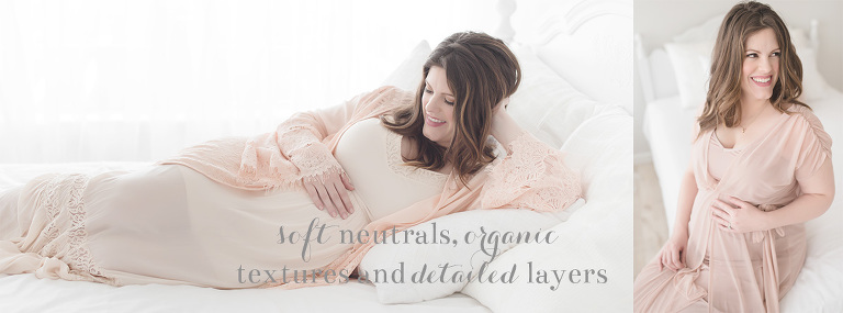 woman wearing beautiful soft neutral color dresses for her maternity session in Pearland