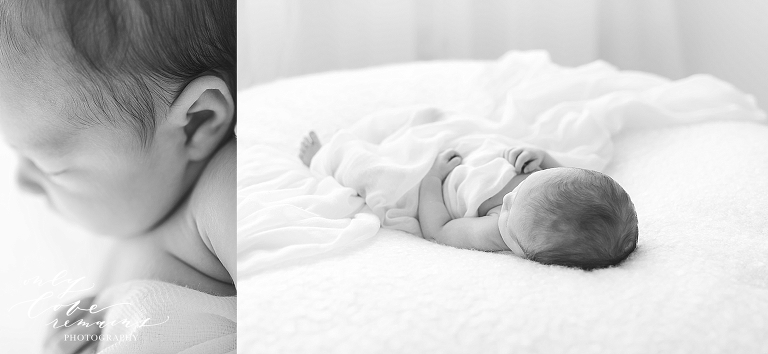 soft black and white images of baby girl on blanket in Houston photo studio