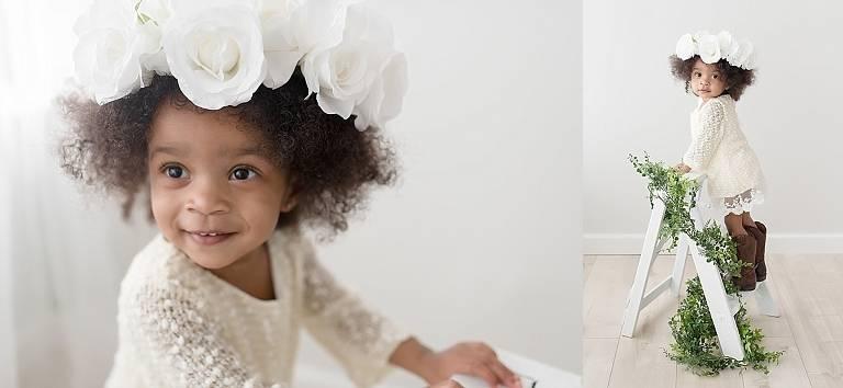 flower garden princess with halo on her 2nd birthday