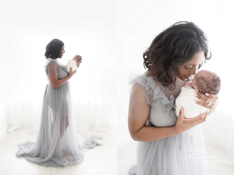 Mom in a beautiful gown with her baby boy