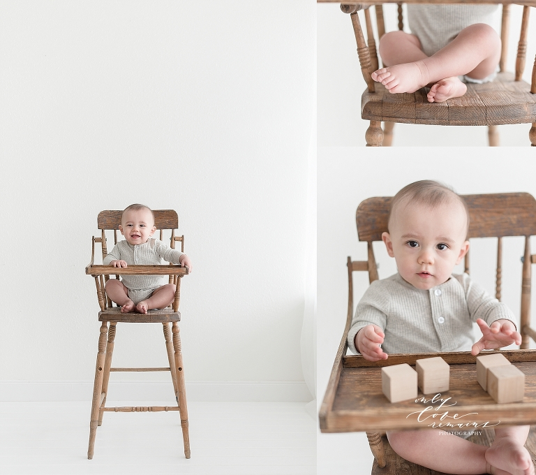 little boy in a vintage high chair playing with blocks